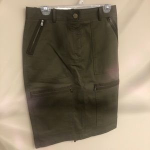 NWT MICHAEL KORS army green cargo style skirt